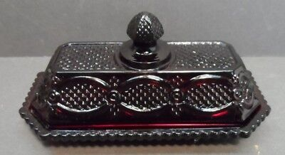 Avon 1876 CAPE COD Collection Ruby Red  Glass Butter Dish