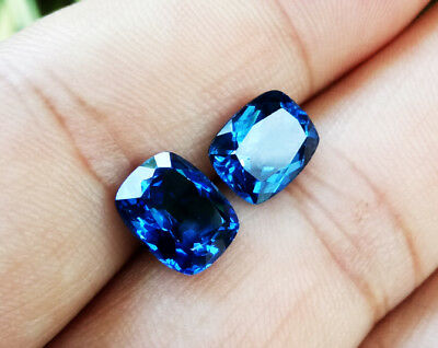 5.30Ct. Pair 9x7mm. Great Luster Cushion Blue Sapphire Excellent Cut Vivid Gems!