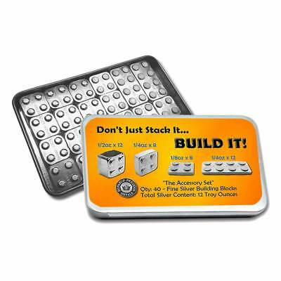 New-Building Blocks-The Accessory Set- Mix of 1/8. 1/4, 1/2 oz.999 Silver Blocks