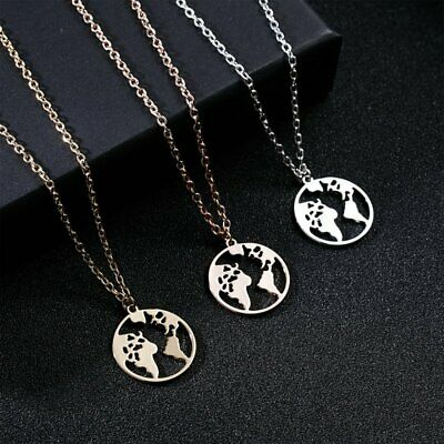 Women Stainless Steel Round Hollow Map Cactus Hollow Pendant Necklace Jewelry