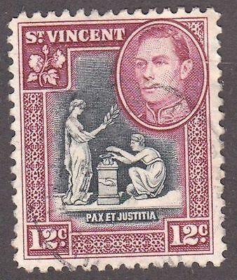 St Vincent, 1949, 12c lake and black, SG171, Sc163, used.