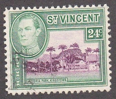 St Vincent, 1949, 24c green and purple, SG172, Sc164, used.