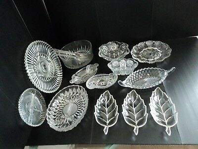 14 Piece Lot of Vintage Misc. Cut Glass, Bowls, Dishes, weighs 19 lbs. - Nice