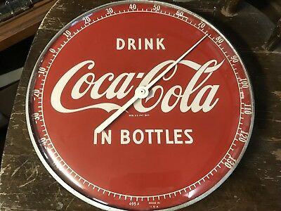 """Coca Cola 12"""" Round """"Drink In Bottles"""" Thermometer"""