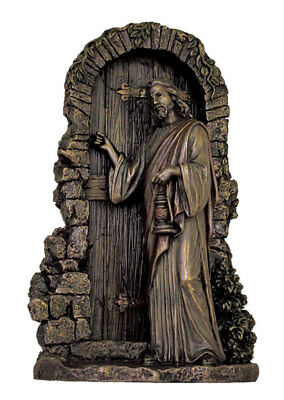 Christ Knocking, Lightly Hand-Painted, Cold Cast Bronze, 9.5 inches
