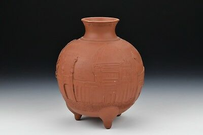 Chinese Yixing Footed Vase w/ Character Scene