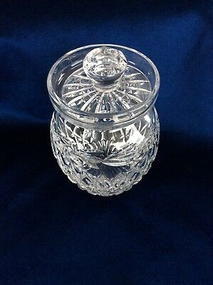 Tyrone Irish crystal sugar/ jam pot stamped with lid excellent condition