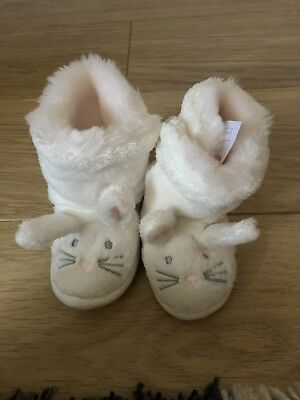 The Little White Company 12-18 Months Baby Girls Bunny Rabbit Slippers