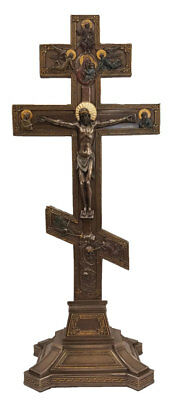 Byzantine Crucifix, lightly hand-painted, cold cast bronze