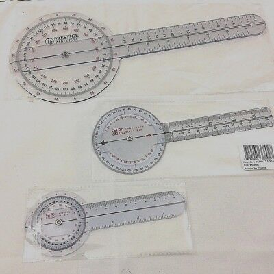 3 PIECE GONIOMETER PROTRACTOR RULER 360 DEGREE Set 12 inch 8 inch 6 inch