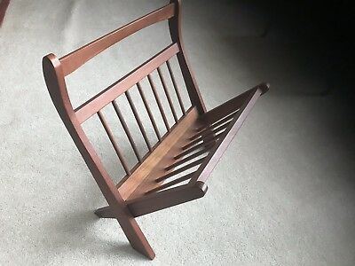 Vintage Mid Century Danish Modern Folding Scissor Teak Wood Magazine Rack Holder