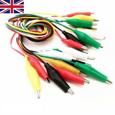 10pc Crocodile Clips Cable Double-ended Alligator Jumper Test Leads Wire