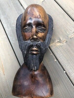Solid Wood Hand Carved Head Statue