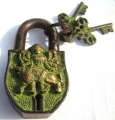 An antique style solid Brass made DURGA with LION design Padlock from India