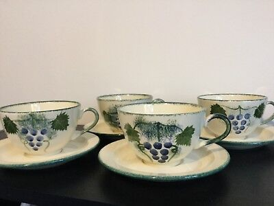 Poole Pottery 4 Cups And Saucers Vineyard Design