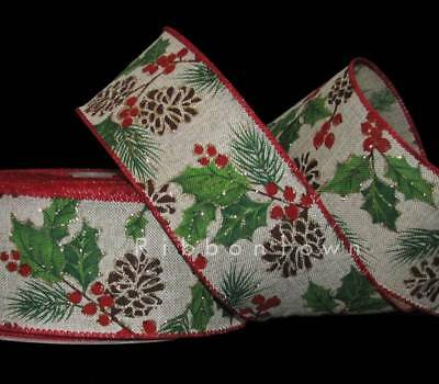 "5 Yards Christmas Pinecones Pine Cone Gold Glitter Berries Wired Ribbon 2 1/2""W"