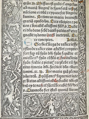 Book of Hours Leaf Vostre Horae Woodcut Border Satyr Griffin Paris 1501