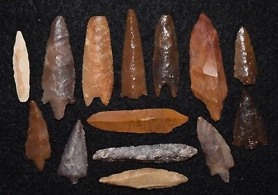 14 Mesolithic & later uni-facial and bi-facial stone blades/tools (2 are drills)