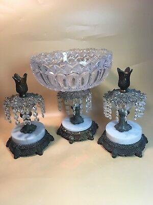 Vintage Crystal Prisms Marble Base Candle Holders W/ Matching Bowl Set Cut Glass