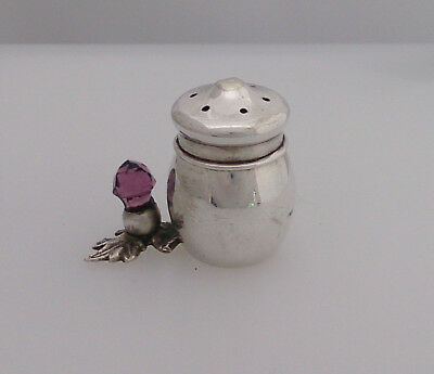 Small Novlety Silver Plated (Epns) Pepper Pot - Amethyst Coloured Glass Thistle
