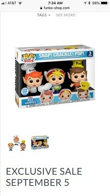 Rice Krispies Snap! Crackle! Pop! Funko Pop Set Ad icons IN HAND NEW IN BOX