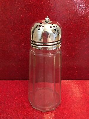 Vintage Glass Sugar Shaker With EPNS Top