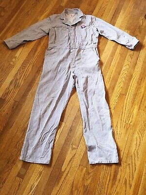 "Vintage 1950s American Oil Gas Work Coveralls Jumpsuit Uniform 40"" X 31"""