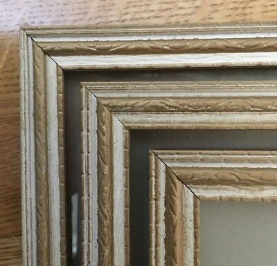 Lot of 3 large picture frames, matching, wooden, antique gold/white VINTAGE