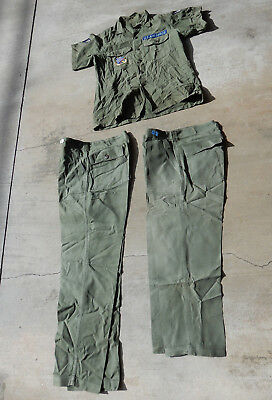 Original Vietnam Era Us Air Force Fatigue Uniform, Shirt/2 Pants With Patch/rank