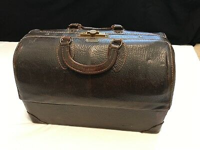 Antique Leather Doctors Bag, Emdee By Schell, With Contents, Travel Medical Bag