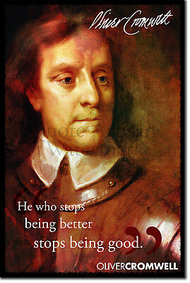 OLIVER CROMWELL english military leader INSPIRES quote poster 24X36 POLITICS