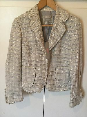 NWT Marks And Spencer Per Una Pale Blue Tweed Jacket- Fits Uk 10- Beautiful!