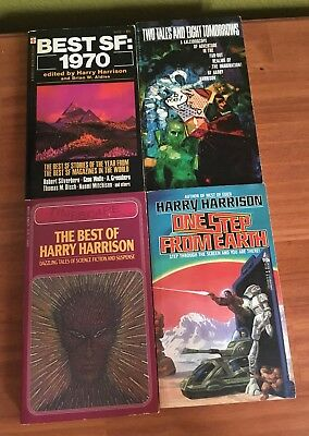 Lot of 4 Vintage Sci Fi Paperback Collections Harry Harrison Best Two Tales Step