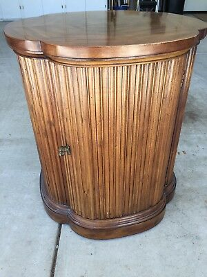 Henredon Clover Top Drum Side Table Mid 20th Century Wood/Brass Unaltered