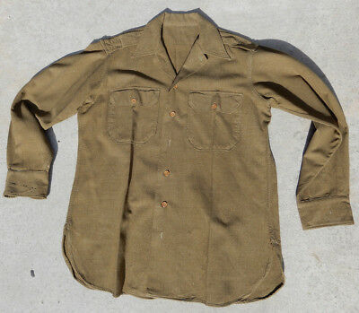 Original Wwii Officers Us Army Mustard Wool Shirt Size 15-1/2 X 33