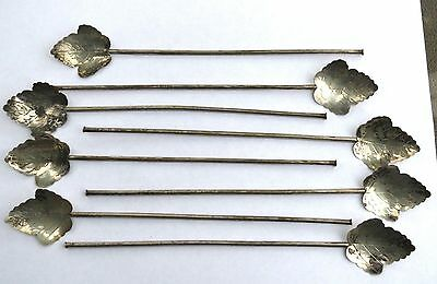 Antique Estate Set Of 8 Mexican Sterling Silver Leaf Straw Spoons
