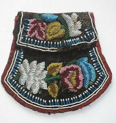 Antique Beaded Purse Pouch Bag Native American Indian Iroquois 1860s