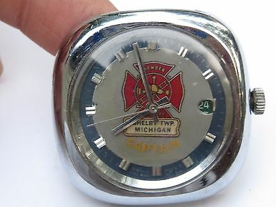 Vintage Fire Chief Captain Wrist Watch Face Shelby Township Michigan