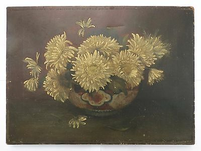 Oil Painting Signed May Ward 1863 Still Life of Flowers in Chinese Porcelain