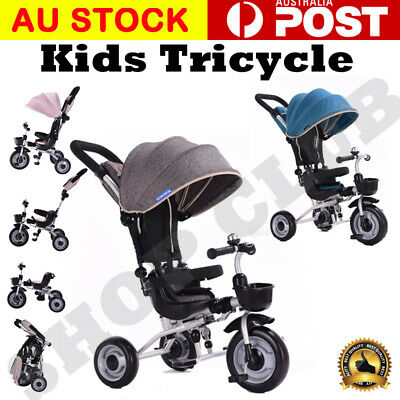 AU Deluxe Foldable Kids Tricycle Baby Toddler Bike Trike w/ Canopy Parent Push