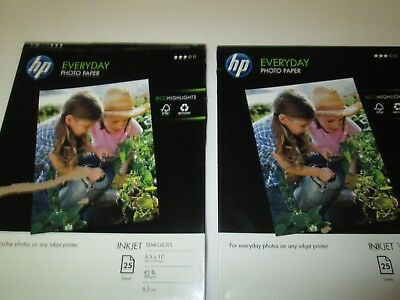 HP Everyday Glossy Photo Inkjet Paper 8.5x11 45lb 6.5mil (46) sheets