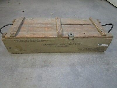 VINTAGE MILITARY SOLID WOOD AMMUNITION AMMO CRATE BOX FOR CANNON w/ ROPE HANDLES