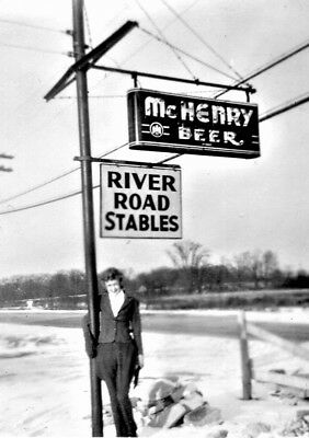 """McHenry Beer Neon Sign IL Photo 5"""" X 7"""" 1930's Reprint"""