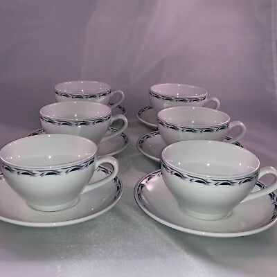 Vintage Continental Airlines Business First 12 Piece Coffee Cup and Saucer Set