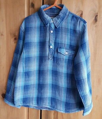 H&M Boys Blue Checked Pull Over Long Sleeve Shirt 5-6 Years