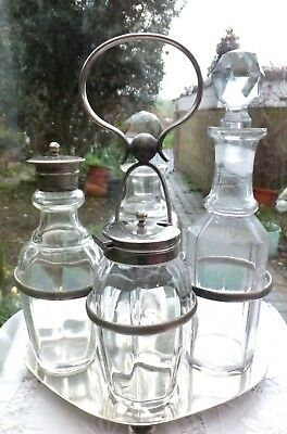 Antique Cruet Set Salt Mustard Oil & Vinegar Crystal Tops on 2 Bottles Art Deco