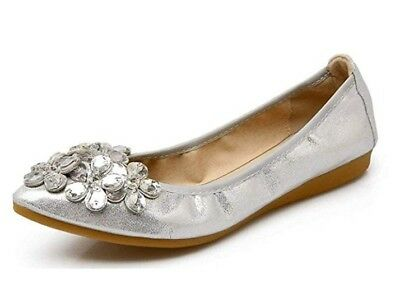 Women Ballet Flats Rhinestone Wedding Ballerina Shoes Foldable Rhinestone Comfor