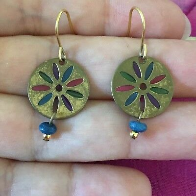 Vintage Antique Gold Colourful Stained Glass Disc Earrings Estate Find Hippy