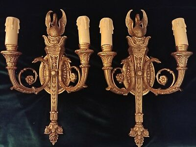 Antique Bronze French Style Gilt Wall Sconces