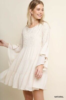 UMGEE Natural Floral Embroidered Bell Sleeve Ruffled Dress